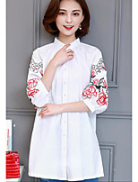 Women's Casual/Daily Simple Shirt,Embroidery Crew Neck 3/4 Length Sleeves Cotton