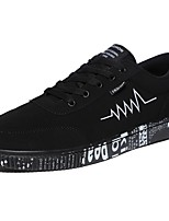 Men's Sneakers Comfort Spring Fall PU Casual Lace-up Flat Heel Black/White Black/Gold Black Flat