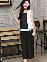 Women's Casual/Daily Simple Summer T-shirt Pant Suits,Color Block Round Neck Sleeveless