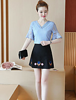 Women's Casual Simple Summer T-shirt Skirt Suits,Solid V Neck Short Sleeve Micro-elastic