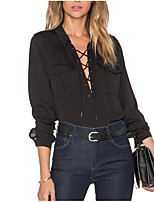 Women's Casual/Daily Simple Shirt,Solid Shirt Collar Long Sleeves Others