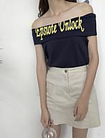 Damen Solide Buchstabe Sexy Lässig/Alltäglich T-shirt,Bateau Kurzarm Baumwolle