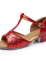 Da donna Balli latino-americani Paillette Tacchi Da allenamento Strass Basso Rosso Meno di 2,5 cm Personalizzabile