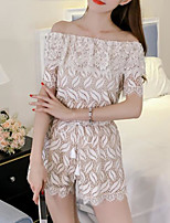 Women's Daily Casual Pattern Casual Active Spring Summer T-shirt Pant Suits,Solid Sexy Fashion Bateau Short Sleeve Lace Stylish strenchy