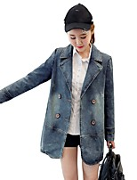 Women's Going out Casual/Daily Simple Spring Fall Denim Jacket,Solid Square Neck Long Sleeve Regular Cotton