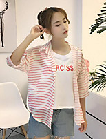 Women's Casual/Daily Simple Shirt,Striped Shirt Collar Half Sleeves Polyester