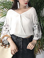 Women's Casual/Daily Simple Blouse,Embroidery V Neck Long Sleeves Others
