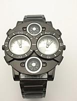 JUBAOLI Homens Relógio Esportivo Relógio Militar Único Criativo relógio Chinês Quartzo Dois Fusos Horários Metal Banda Vintage Legal Preta
