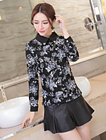 Women's Casual/Daily Simple Blouse,Floral Shirt Collar Long Sleeves Polyester