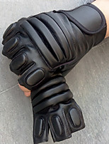 Men's Sheepskin Real Genuine Leather Wrist Length Half Finger Soak Off Outdoor Sports Solid Spring/Fall Summer Bike Cycling Gloves Black