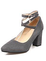 Women's Heels Comfort Spring Fall Fleece Outdoor Office & Career Rhinestone Chunky Heel Gray Black 2in-2 3/4in