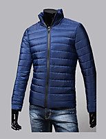 Hot Sale High Quality Men's Regular Padded CoatSimple Going out Casual/Daily Solid Color Block-Cotton Polyester Long Sleeves