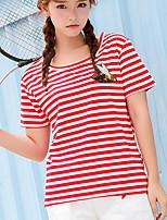 T-shirt Da donna Casual Semplice A strisce Con stampe Animal Rotonda Altro Manica corta