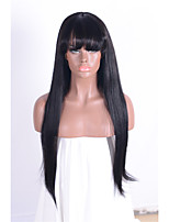 Natural Long Straight Black Brazilian Human Hair Capless Wigs for Women None Lace Wigs with Bangs Machine Made Human Hair Wigs