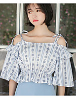 Women's Going out Cute Shirt,Solid Floral Strap Short Sleeves Cotton