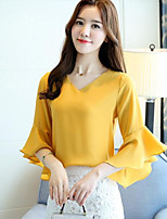Women's Casual/Daily Simple Blouse,Solid V Neck 3/4 Length Sleeves Others