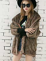 Women's Daily Work Simple Active Fall Winter Fur Coat Solid Shawl Lapel Long Sleeve Long Faux Fur Warm The Bat Sleeve Collar Black/Brown S-XL