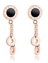 Roman digital shell black film with double circle earrings with simple and short circle earrings