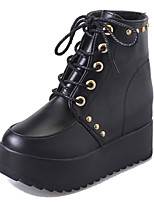 Women's Boots Comfort PU Fall Casual Lace-up Flat Heel Brown Black Flat