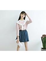 T-shirt Da donna Per uscire Casual Semplice Romantico Moda città Estate Autunno,A strisce Monocolore Rotonda Cotone Manica lungaSottile