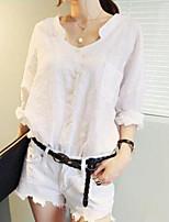 Camicia Da donna Casual Semplice Tinta unita A V Cotone Altro Manica lunga