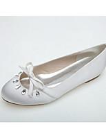 Da donna scarpe da sposa Ballerina Primavera Estate Raso Matrimonio Serata e festa Formale Con diamantini Fiocco Piatto Bianco Rosa Piatto