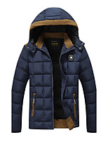 Men's Regular Padded Coat,Vintage Simple Active Going out Casual/Daily Solid-Cotton Polyester Long Sleeves