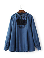Damen Solide Einfach Street Schick Ausgehen Lässig/Alltäglich T-shirt,Rundhalsausschnitt Frühling Herbst Langarm Baumwolle PolyesterDünn
