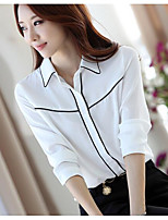 Women's Casual/Daily Simple Shirt,Solid Shirt Collar Long Sleeves Cotton