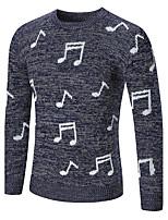 Недорогие -Для мужчин Повседневные На каждый день Обычный Пуловер Геометрический принт,Круглый вырез Длинный рукав Полиэстер Спандекс Зима Осень