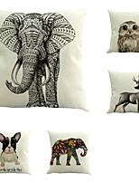 Set Of 5 Vintage Animals Cotton/Linen Pillow Cover Square Sofa Pillow Case