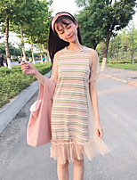 Women's Holiday Cute Summer Blouse Skirt Suits,Striped Round Neck Short Sleeve