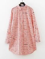 Camicia Da donna Casual Per uscire Sensuale Semplice Moda città Estate,A strisce Con stampe Colletto Cotone Manica lungaMedio spessore