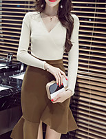 Women's Going out Casual/Daily Boho Fall Winter T-shirt Skirt Suits,Solid V Neck Long Sleeve Micro-elastic