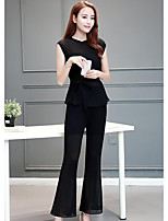 Women's Casual/Daily Simple Summer T-shirt Pant Suits,Solid Crew Neck Sleeveless