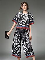 Maglietta Pantalone Completi abbigliamento Da donna Per uscire Casual Vintage Moda città sofisticato Per tutte le stagioni,A strisce