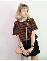 Women's Going out Simple T-shirt,Solid Striped Round Neck Short Sleeves Cotton