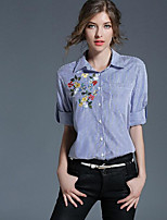 Women's Casual/Daily Chinoiserie Fall Shirt,Striped Shirt Collar Long Sleeves Polyester
