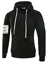 Men's Sports Going out Casual/Daily Simple Active Street chic Hoodie Solid Hooded Micro-elastic Polyester Spandex Long Sleeve Fall Winter