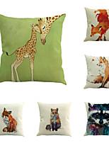 Set Of 4 Creative Cartoon Fox Printing Pillow Case Classic Cotton/Linen Pillow Cover