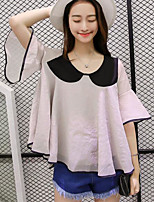Women's Casual/Daily Simple Blouse,Solid Round Neck Half Sleeves Others