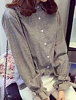 Для женщин На каждый день Весна Рубашка Рубашечный воротник,Простое Полоски Длинный рукав,Хлопок,Средняя