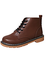 Women's Boots Comfort PU Spring Fall Casual Lace-up Flat Heel Brown Black Flat