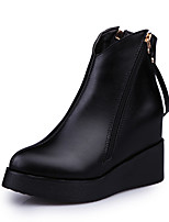 Women's Boots Comfort PU Fall Winter Casual Flat Heel Black Flat