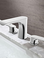 Modern/Comtemporary Widespread Ceramic Valve Two Handles Three Holes for  Chrome , Bathroom Sink Faucet