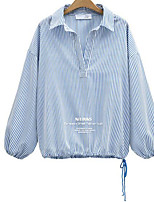 Women's Casual/Daily Simple Shirt,Solid Striped Stand Long Sleeves Cotton