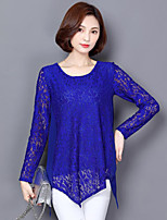 Women's Plus Size Casual/Daily Street chic Spring Fall T-shirt,Solid Round Neck Long Sleeves Polyester Medium