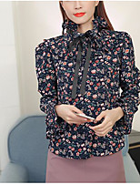 Women's Casual/Daily Simple Blouse,Print Crew Neck Long Sleeves Polyester