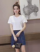 Women's Casual/Daily Cute T-shirt,Solid Round Neck Short Sleeves Cotton