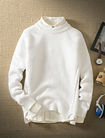 Men's Going out Casual/Daily Simple Short Pullover,Solid Round Neck Long Sleeves Wool Cotton Others Spring Fall Thin Micro-elastic